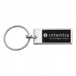 Elegance Rectangle Black & Silver Key Chain