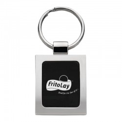 Elegance Square Black & Silver Key Chain
