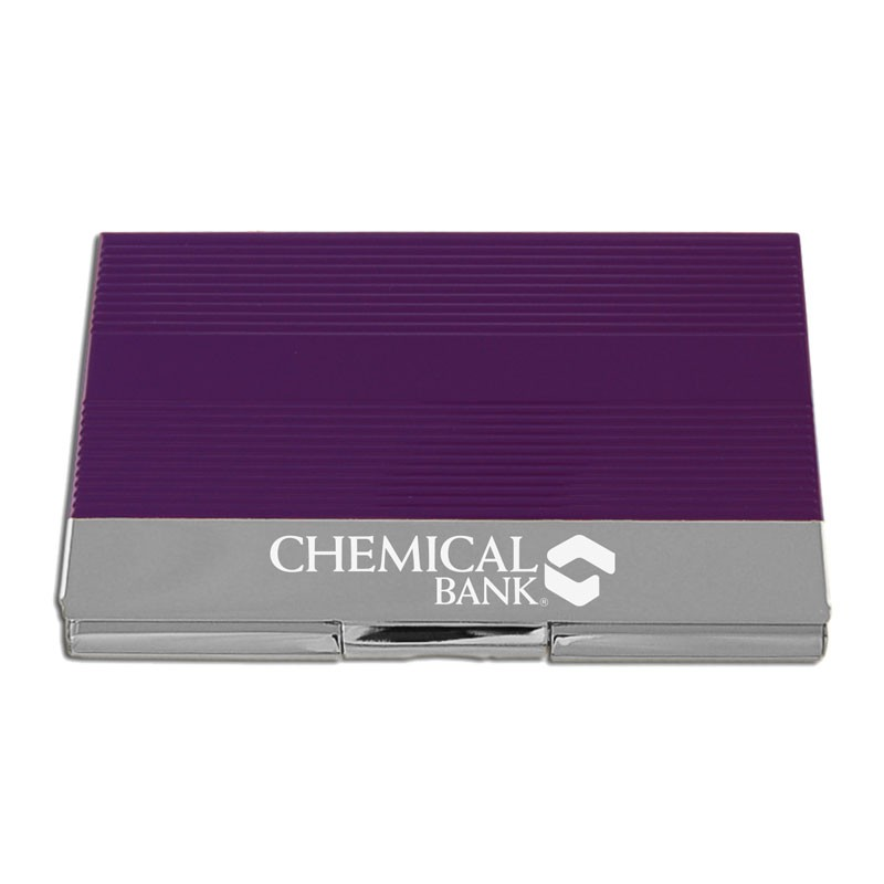 Color Business Card Holder - Silver Finish (Closeout)