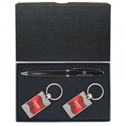 Double Leather Key Chain and Ballpoint Pen