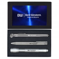 Roadster Gift Set with Ballpoint pen, Tire Gauge, and Flashlight