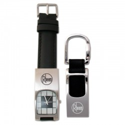 Leather Watch and Key Tag Gift Set (Closeout)