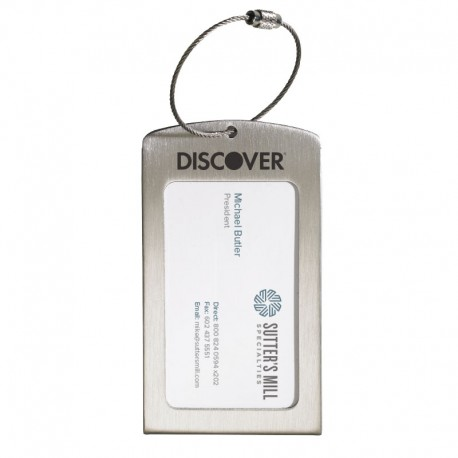 Luggage tag displaying business card colourmoves