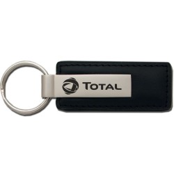 Leather & Metal Rectangle Key Chain 1